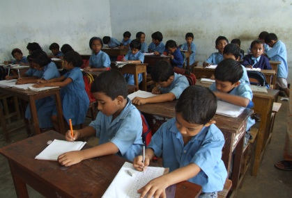 Children reading in the class room