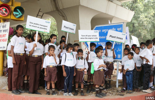 New Delhi: Students participate in CLAIM - Clean Air India Movement, to spread awareness regarding mounting air pollution  and measures to check it in New Delhi on June 4, 2015. (Photo: IANS)