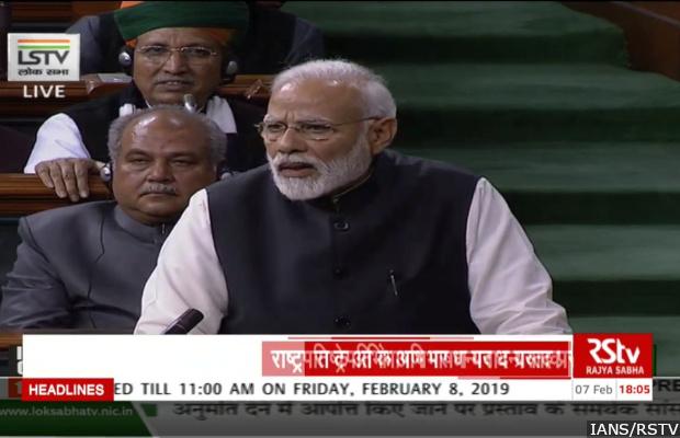 New Delhi: Prime Minister Narendra Modi addresses in Lok Sabha in New Delhi on Feb 7, 2019. (Photo: IANS/RSTV)
