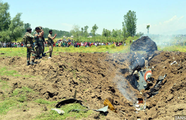 Debris of MiG-21 fighter plane which crashed in Anantnag district of Jammu and Kashmir about 10 km short of Awantipur air base on May 27, 2014. (Photo: IANS)