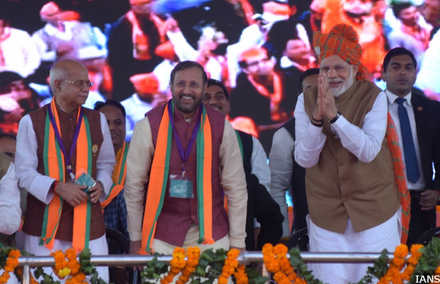Jaipur: Prime Minister Narendra Modi and Union Minister Prakash Javadekar during a BJP rally in Jaipur on Dec 4, 2018. (Photo: IANS)