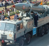 The Prithvi Missile system of Indian Air Force gliding down the Rajpath during the Republic Day Parade - 2006, in New Delhi on January 26, 2006.
