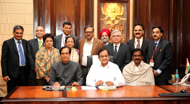 The Union Finance Minister, Shri P. Chidambaram giving final touches to the General Budget 2013-14, in New Delhi on February 27, 2013.The Ministers of State for Finance, Shri Namo Narain Meena and Shri S.S. Palanimanickam are also seen.