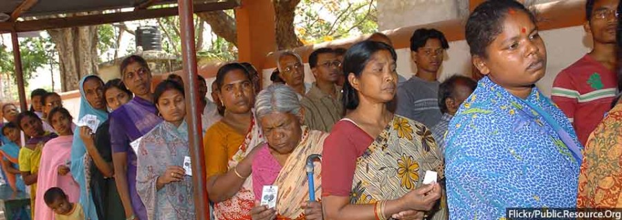 Women voters standing in a queue for casting their votes at a polling booth in Seventh Day School, Chutia, Ranchi, Jharkhand during the 2nd Phase of General Election-2009 on April 23, 2009.